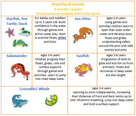 Preschool Swim Lesson Summary